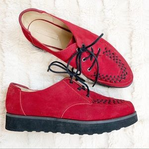 Zara Trafuluc Red Platform Suede Oxford Lace 8.5